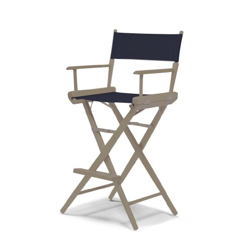 Telescope Casual World Famous Bar Height Director Chair, Rustic Grey with Navy Canvas Fabric