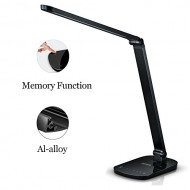 Guanya F118 Dimmable LED Desk Lamp Aluminum Alloy Lamp Arm,Memory Function,Eye-caring,Energy Efficient,7-Level Dimmer,Touch-sensitive Control Panel ,Matte Black