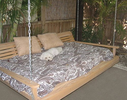 Cypress Porch SWING BED 6 ft With Heavy Duty 10ft galvanized CHAIN set and made from Rot-resistant Cypress Eternal Wood Made in the USA – Green Furniture – GO GREEN