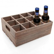 Vintage Finish Rustic Brown Wood 12 Slot Beer Bottle Serving Crate / Beer Storage Box w/ Carrying Handles