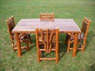Rustic Sassafras Table and Chairs Set, Walnut Table Top – 5 Foot