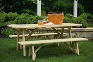 6 Ft Pressure Treated Pine Picnic Table with 2 Traditional Benches -7 Paint Options