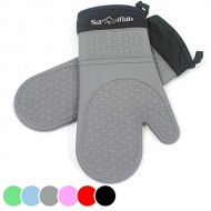 Grey Silicone Oven Mitts – 1 Pair of Extra Long Professional Heat Resistant Potholder Gloves – Oven Mitt Set of 2