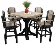 Outdoor Classic Polywood Bar Table and 4 Swivel Bar Chair SET – *DOVE GRAY/BLACK* Color