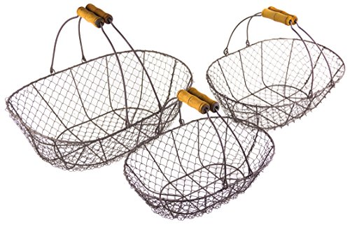 Harvest Rustic Wire Country Style Basket with Handles, Set of 3