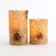 Set of 2 Birch Bark Flameless Wax Battery Operated 4″ and 6″ LED Candles