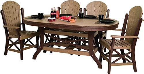 Poly Lumber Patio Furniture Set Including 1 Oval Table (72″) and 6 Chairs in Weathered Wood & Brown – Amish Made in USA