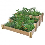 Gronomics Multi-Level Rustic Raised Garden Bed, 48 by 50 by 19″