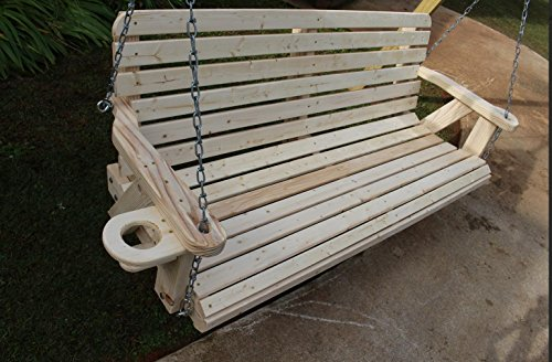 Amish Pine Heavy Duty 700 Lb 5 Ft. Porch Swing with Cup Holders Wide Slat- Made in USA