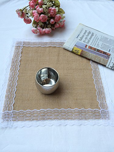 Set of 6 – Natural Burlap Table Placemats with Lace Wedding Decor Rustic Shabby Jute Party Reception