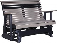 Outdoor Polywood 4 Foot Porch Glider – Plain Rollback Design *WEATHERWOOD/BLACK* Color