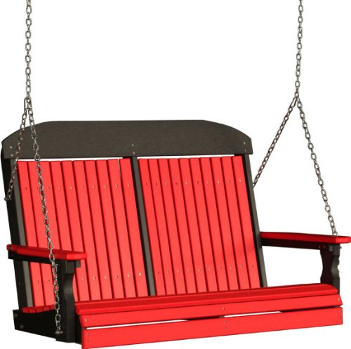 Outdoor Polywood 4 Foot Porch Swing – Classic Highback Design *RED/BLACK* Color