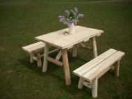 White Cedar Log Picnic Table with Detached Bench – 4 foot