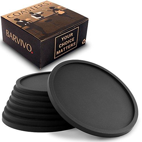 #1 Best Drink Coasters by Barvivo – Danish Design & Quality. Eco-Friendly Coaster Set of 8 – Love it or Return it! Top Grade Silicone Ensure a Great Table Grib. Ideal for any Occasion & Drinks.
