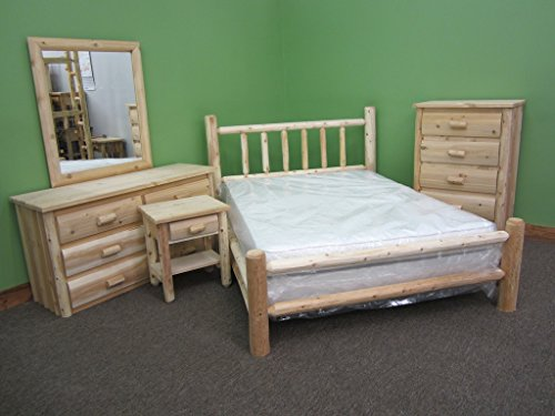 Midwest Log Furniture – Premium Log Bedroom Suite – King – 5pc