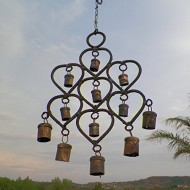 Wrought Iron Heart Windchime w/ 12 Rustic Metal Bells