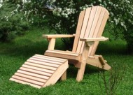 Folding Cedar Adirondack Chair with Ottoman Footstool, Amish Crafted