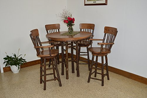 Rustic Hickory & Oak 42″ Bar Table with 4 Swivel Stools *Natural Finish* Amish Made USA
