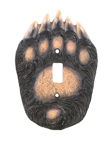 Bear Paw Single Switch Electrical Cover / Plate – Black Grizzly Claw Cabin