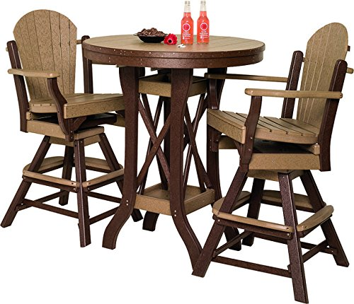 Poly Patio Set Including Round Table (48″) and 4 Swivel Chairs in 18 Colors – Amish Made – BROWN
