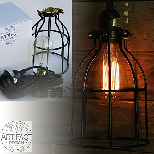 Industrial Vintage Style Curved Metal Wire Cage Pendant Ceiling Lamp Light Fixture Set with 15′ Toggle Switch Black Plug-in Cord and Edison Style Bulb