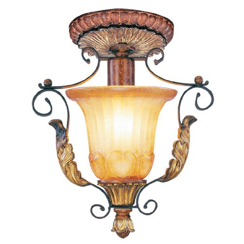 Livex Lighting 8578-63 Villa Verona 1 Light Verona Bronze Finish Flush Mount with Aged Gold Leaf Accents and Rustic Art Glass