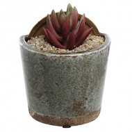 4 inch Mini Rustic Style Wall Mounted Gray Crackle Glazed Ceramic Succulent Plant Pot / Small Hanging Flower Planter