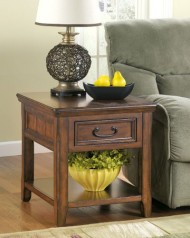 Signature Design by Ashley Rustic Dark Brown Woodboro End Table