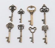 8pcs Assorted Bottle Openers Copper Key Shaped Wedding Party Favors Antique Rustic Decoration