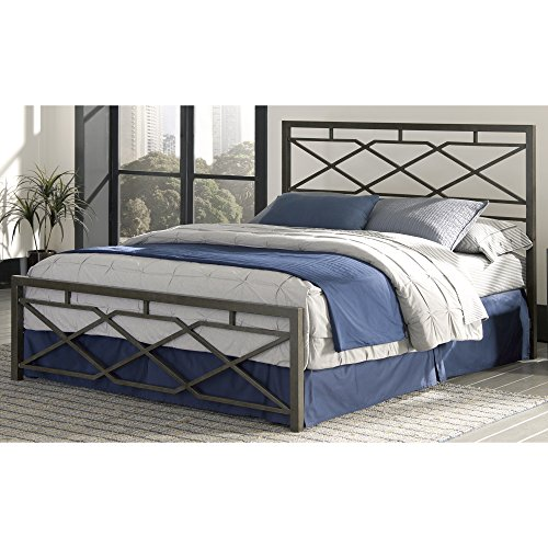 Fashion Bed Group B41164 Alpine Snap Bed with Geometric Panel Design and Folding Metal Side Rails, Rustic Pewter Finish, Full