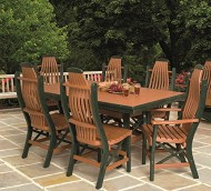 Poly Lumber Patio Furniture Set Including 1 Rectangular Table (60″) and 4 Chairs in Weathered Wood & Black – Amish Made in USA