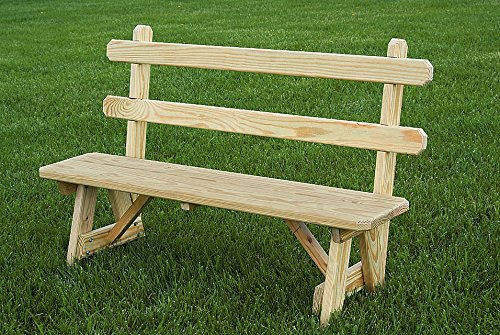 Pressure Treated Pine 42″ Traditional Picnic Bench with Back Amish Made USA- Unfinished
