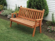Cedar Outdoor 5 Foot Traditional English Garden Bench *Unfinished* Amish Made USA