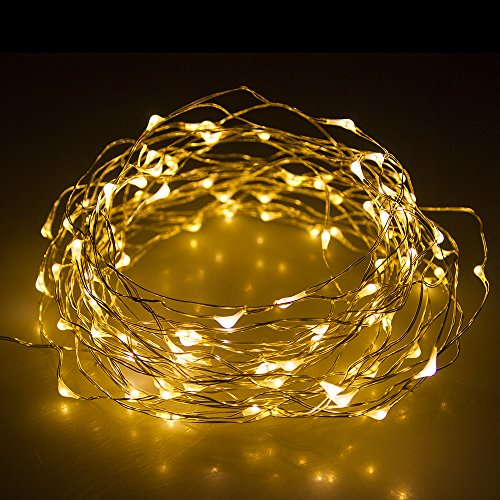 MUCH 33ft 100 LEDS Warm White Starry Lights Flash Lights Copper LED Lights Strings for Christmas Trees, Wedding, Gardens, Lawn, Patio, Parties