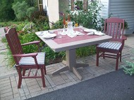 Poly Lumber Wood Patio Set- 33″ Square Table and 2 Classic Chairs with Arms- Amish Made USA