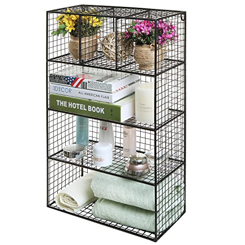 26 inch Black Metal Wire Wall Mounted or Freestanding Kitchen / Bathroom / Bedroom Organizer Shelf Rack
