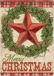 "Carson – ""Rustic Christmas"" 28″X40″ Merry Christmas Wreath, Star House Flag"