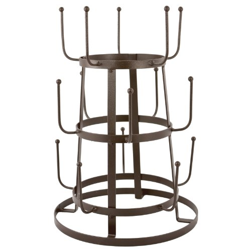 MyGift® Vintage Rustic Brown Iron Mug / Cup / Glass Bottle Organizer Tree Drying Rack Stand