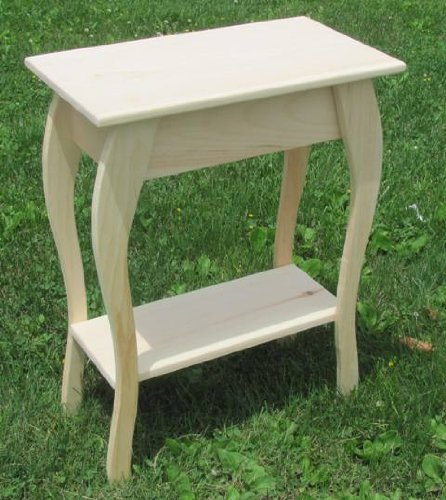 Solid Wood Unfinished End Table Pine Amish Made Rustic