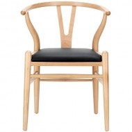 "LexMod Hans Wegner Style Wishbone ""Y"" Chair with Black Vinyl Seat"