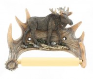 Sculptured Moose And Antler Rustic Toilet Tissue Holder