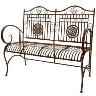 Oriental Furniture Rustic Metal Garden Bench, Rust Patina