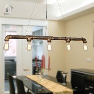 UNITARY BRAND Vintage Metal Water Pipe Pendant Light Max 200W With 5 Lights Black with Copper Finish