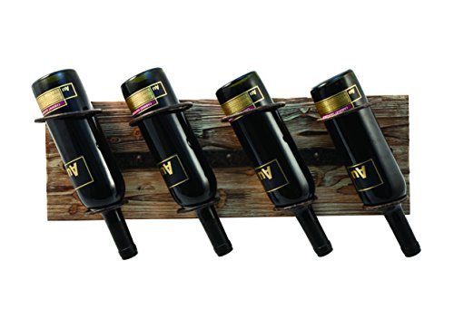 TWINE Wall Mounted Rustic Country Wood and Metal Wine Rack – Holds 4 Bottles for Vertical or Horizontal Mounting