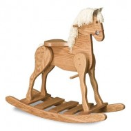 FireSkape Medium Deluxe Amish Crafted Solid Oak Natural Finished Rocking Horse with White Mane