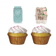 Rustic Wedding Cupcake Toppers 12 Per Pack