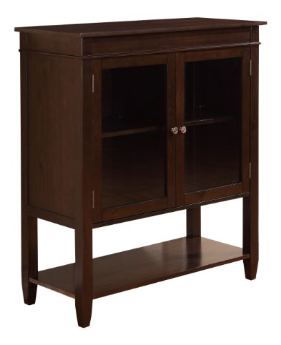 Simpli Home Carltonn Storage Media Cabinet and Buffet, Medium, Dark Tobacco Brown