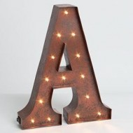 """12″ – Rustic Brown – Metal – Battery Operated – LED – Lighted Letter """"A"""" 