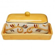 Tuscan Rustic Style Yellow Floral Pattern Rectangular Ceramic Butter Serving Dish Plate w/ Lid
