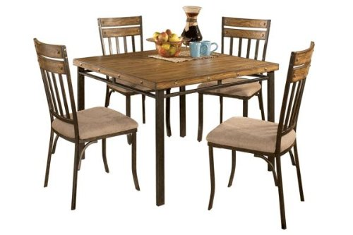 Roundhill Furniture 5-Piece Wood and Metal Dining Room Set, Includes Table with 4 Chairs